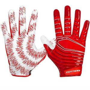 Red and white tie dye cutter gloves
